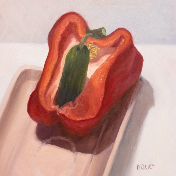Veggie Porn, oil on Gessobord panel, 8x8""