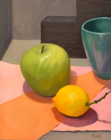 Apple, Lemon and Turquoise Cup, oil on panel, 10x8""