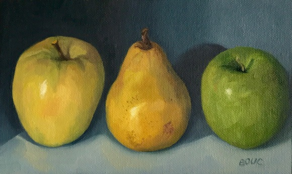 """Two Apples and a Pear, Oil on canvas, 5x11"""""""