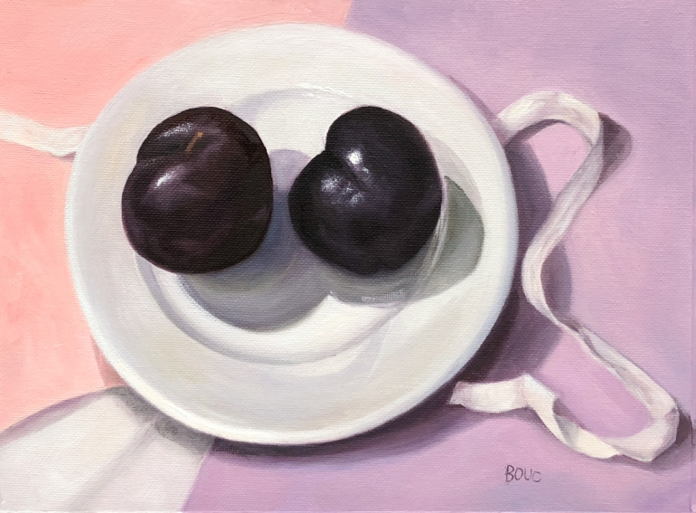 Plums on a White Plate, oil on canvas, 9x12""