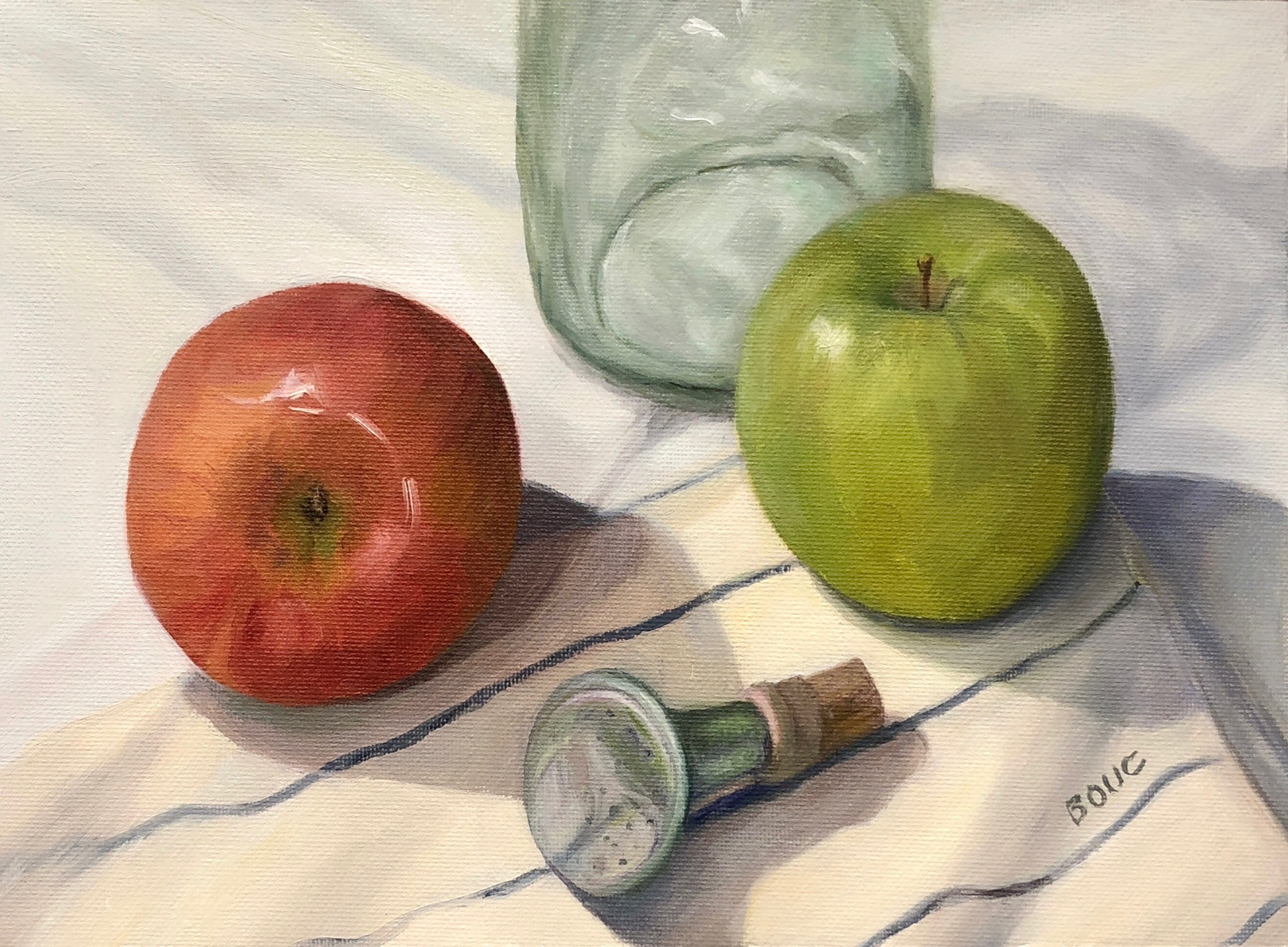 Grandma's Laundry Sprinkler and Apples, oil on canvas, 9x12 inches