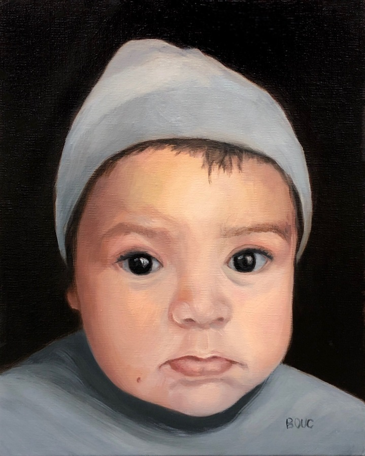 Portrait of Baby Toa, oil on linen panel, 10x8 inches