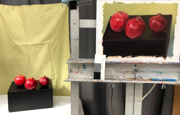 3 Poms on a Box painting on easel and still life set up