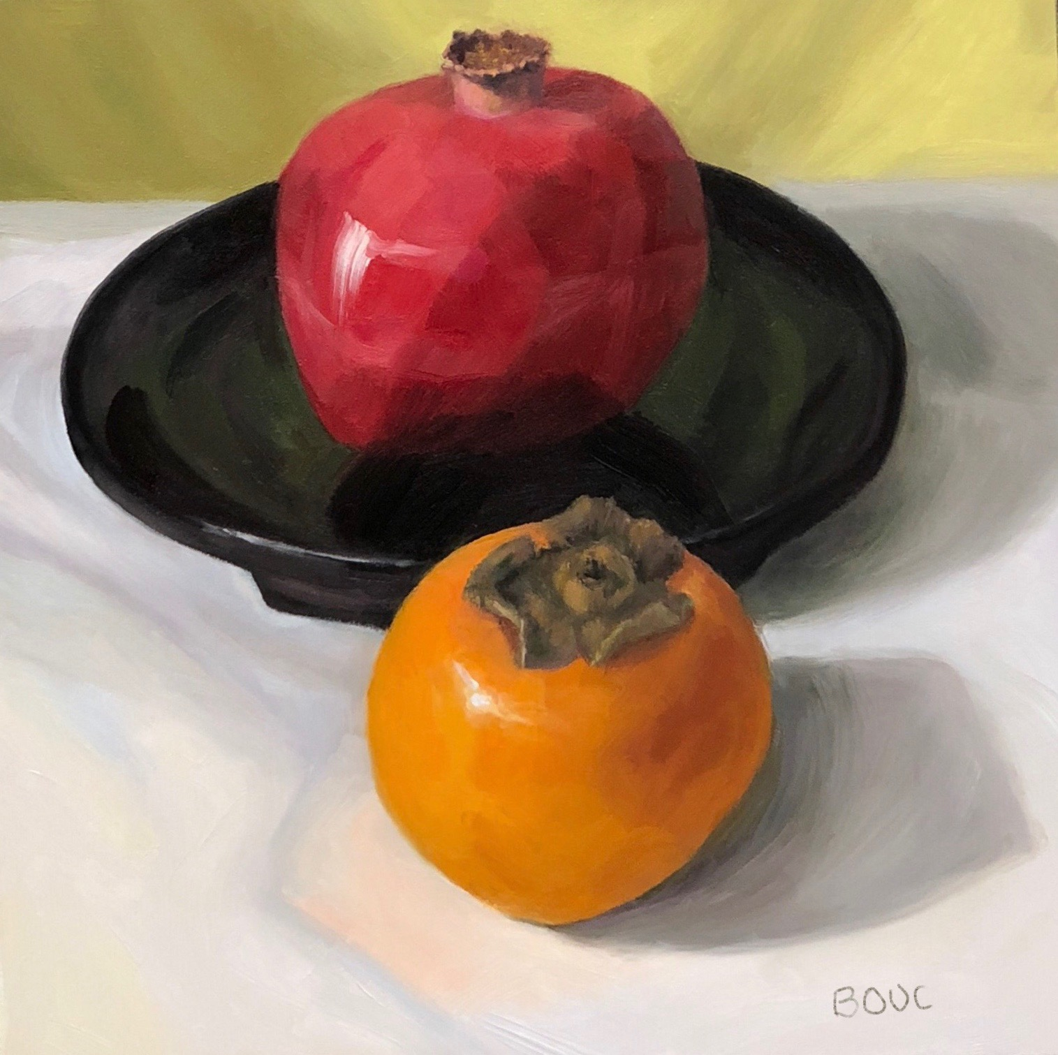 Queen Pom and Princess Persimmon, oil on panel, 8x8""