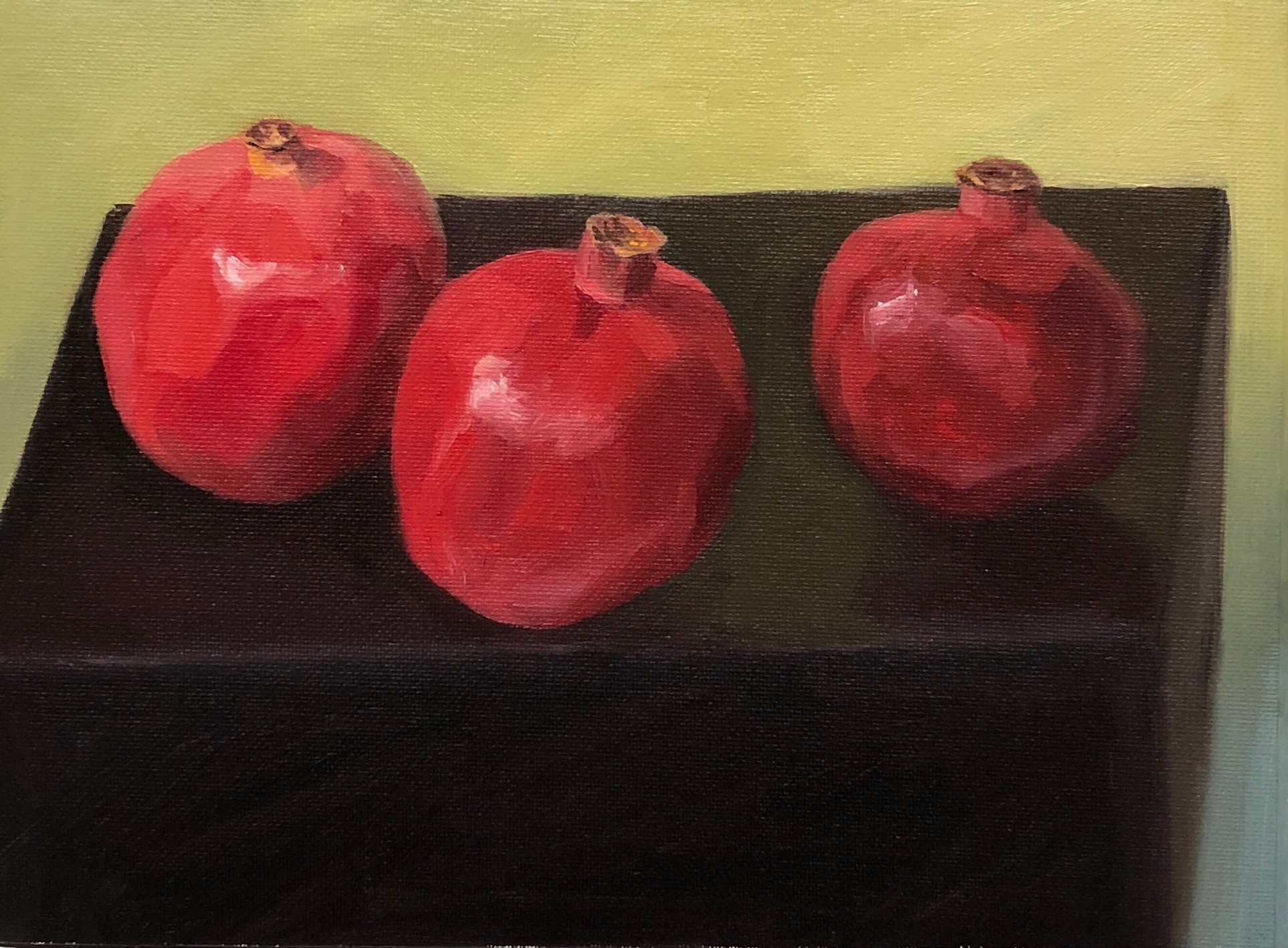 4 Poms on a Black Plate, oil on panel, 8x10""