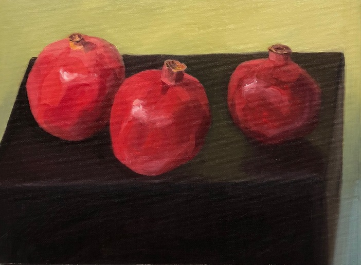3 Poms on a Black Box, oil on panel, 8x10""
