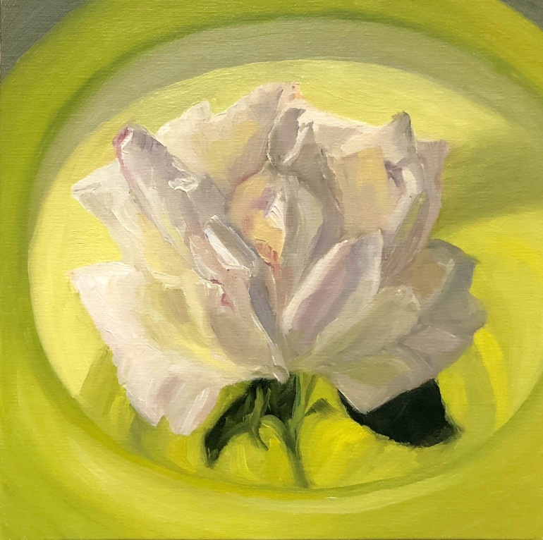 "Rose in Mom's Antique Yellow Glass Bowl, 8x8"" Oil on Panel"