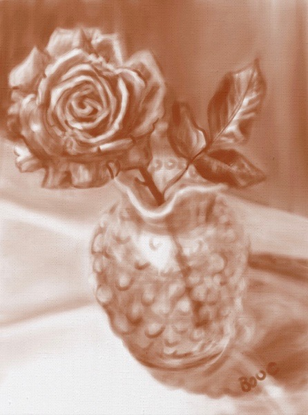 Rose in Mom's Milkglass Vase, Procreate sketch on iPad.