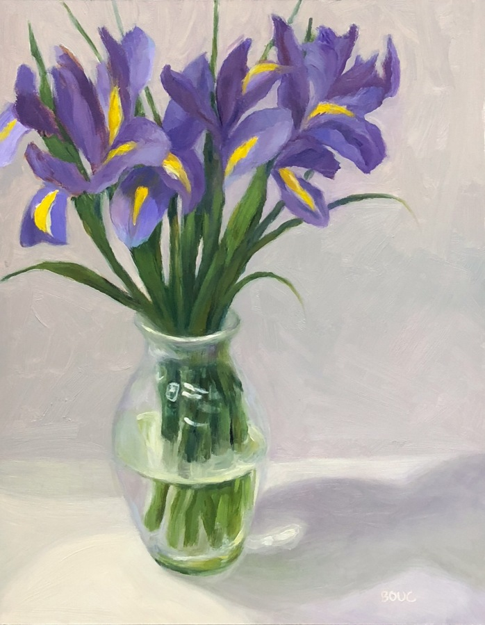 "Irises on a White Cloth, oil on panel, 14x11"" Available here."
