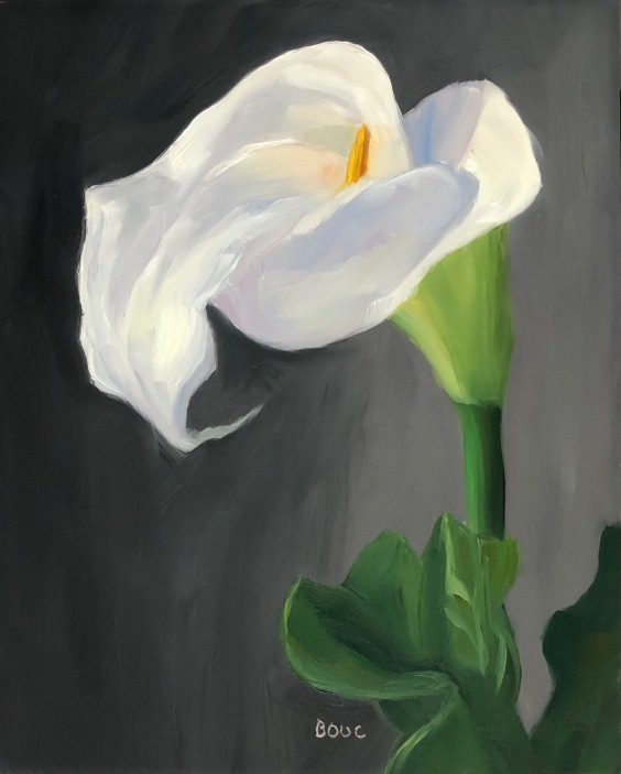 First Calla, oil on panel, 10x8""