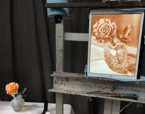 iPad on the easel with still life set up