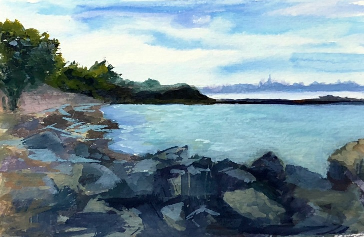 Albany Bulb, gouache on watercolor paper