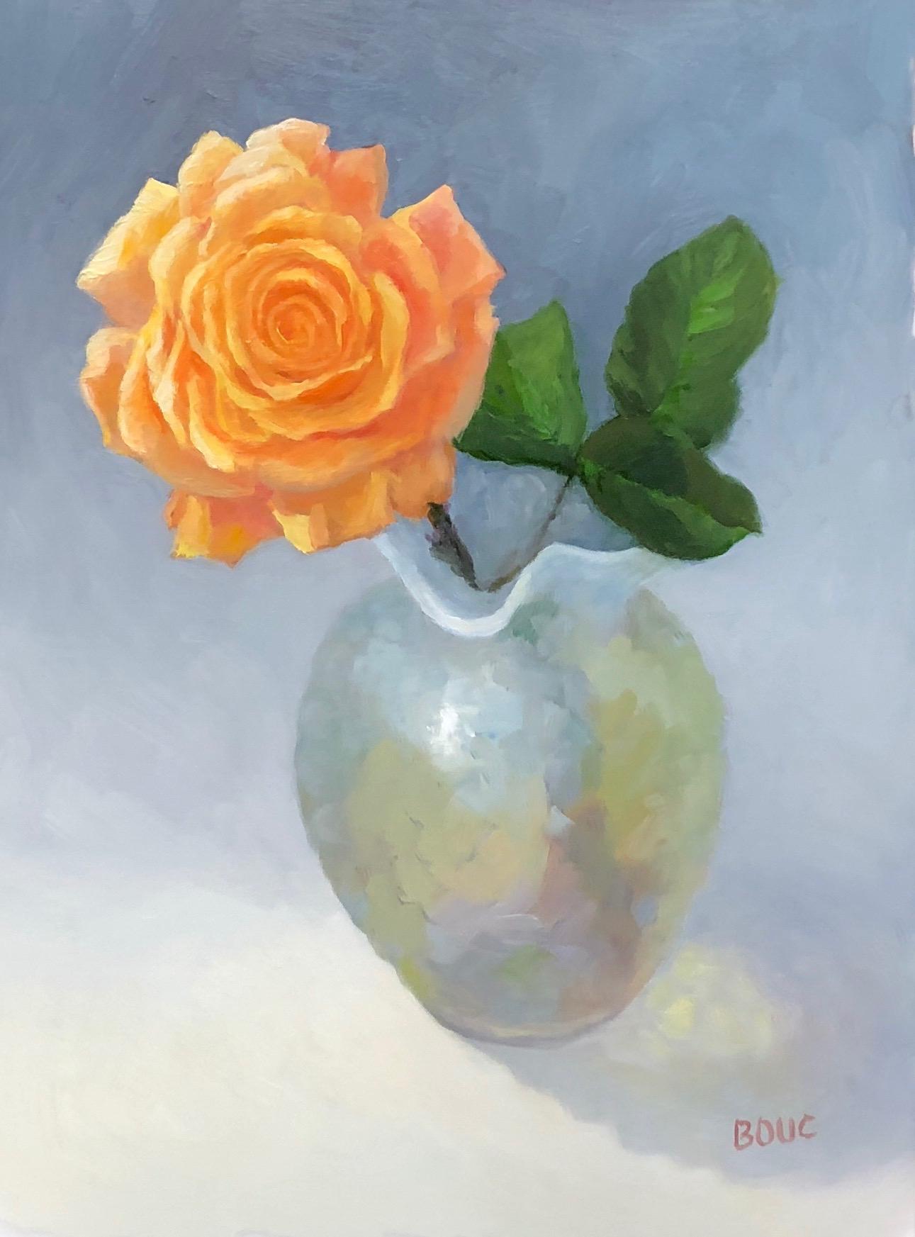 "Rose in Mom's Milkglass Vase, oil on Dura-Lar, 12x9"""