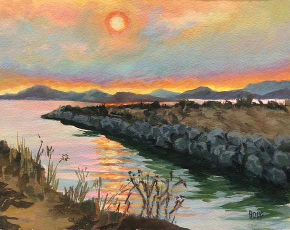 Point Isabel at Sunset, Gouache on Arches Watercolor paper, 9x12