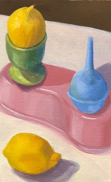 Still life in gouache on watercolor paper