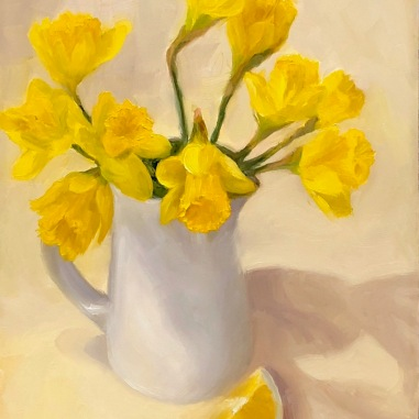 "Daffodils in White Pitcher and a Lemon, oil on panel, 12x9"" Available here"