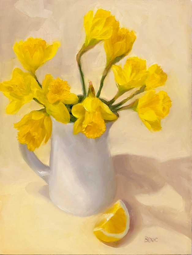 Spring Yellow Daffodils with Lemon Wedge