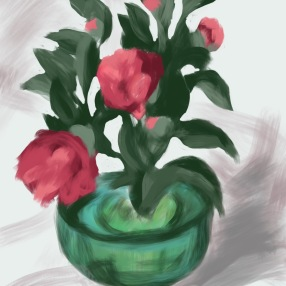 Initial quick sketch in Procreate on the iPad to get to know the flowers