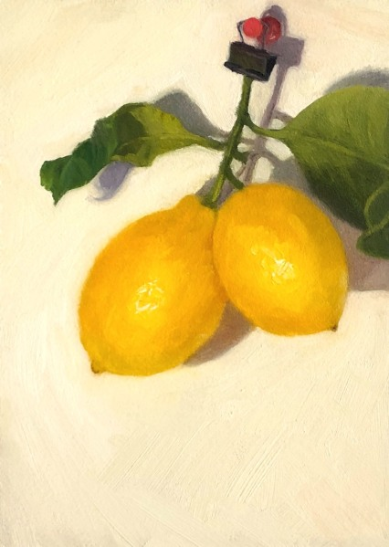 Hanging Lemons, oil on Gessobord panel, 7x5""