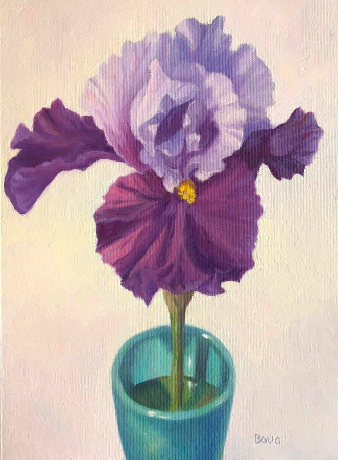 Iris in an Aqua Cup, oil on unstretched canvas, 12x9""