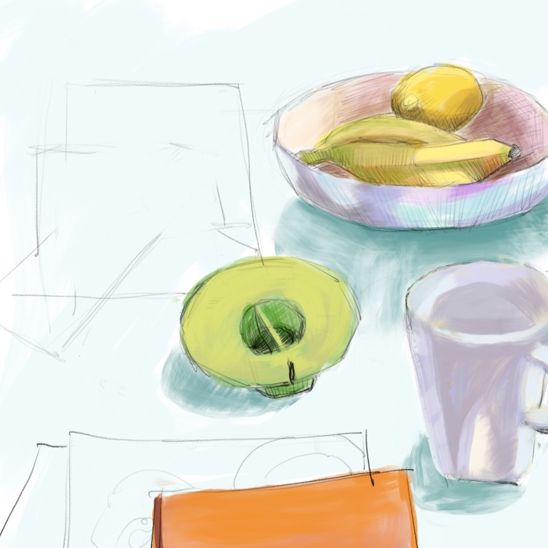 Unfinished breakfast sketch in Procreate on the iPad. Had to get going and when I came back things had moved around so couldn't finish.