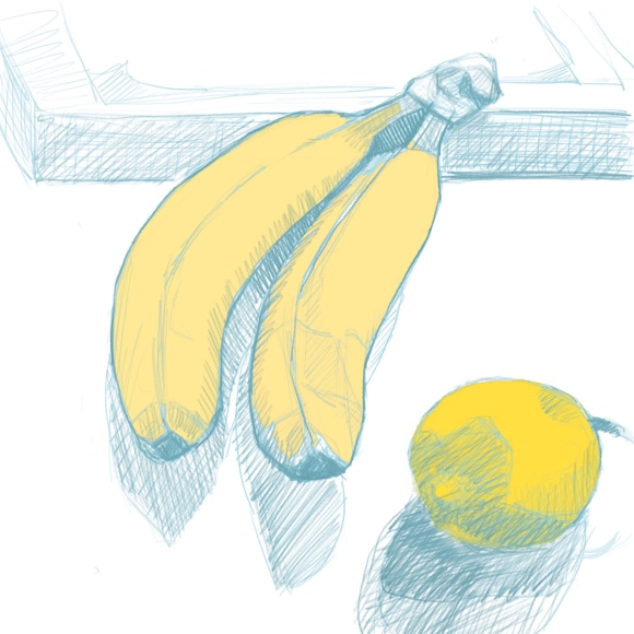 Unfinished sketch of bananas and lemon on the table