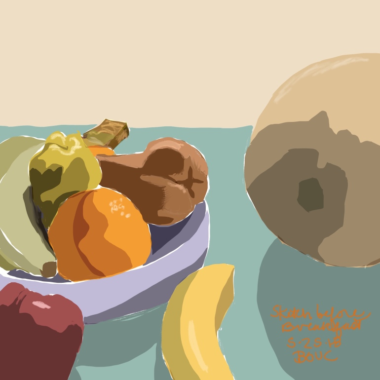 Big cantaloupe and fruit bowl early morning breakfast table sketch in Procreate on the iPad.