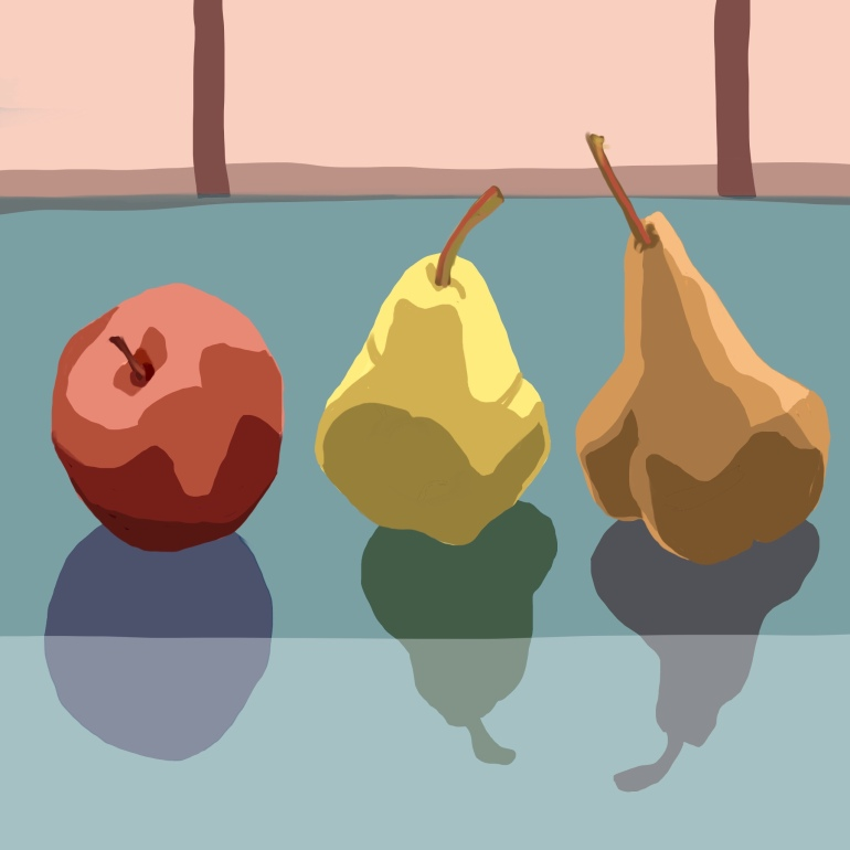 Two pears and an apple on breakfast table; morning sketch in Procreate on the iPad.