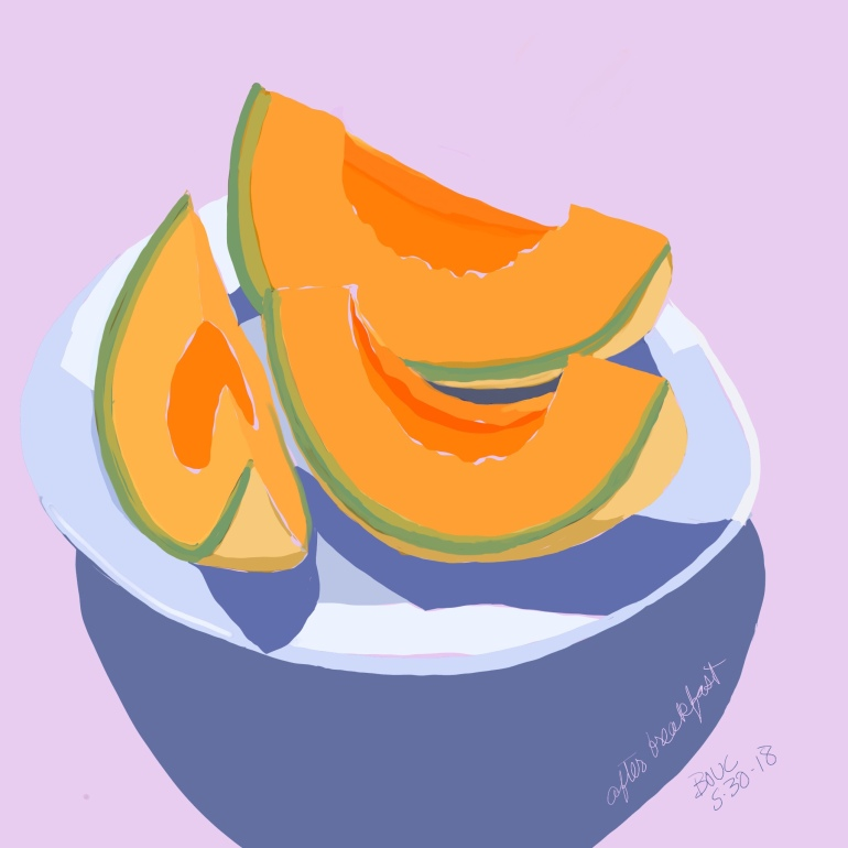 Cantaloupe Slices, sketched in Procreate on the iPad and then eaten for breakfast.