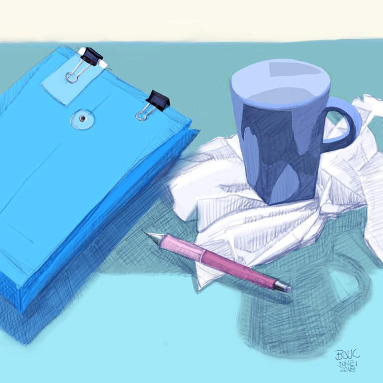 Paperwork for the impending kitchen remodel, coffee, a pen and kleenex, Procreate on the iPad pro.