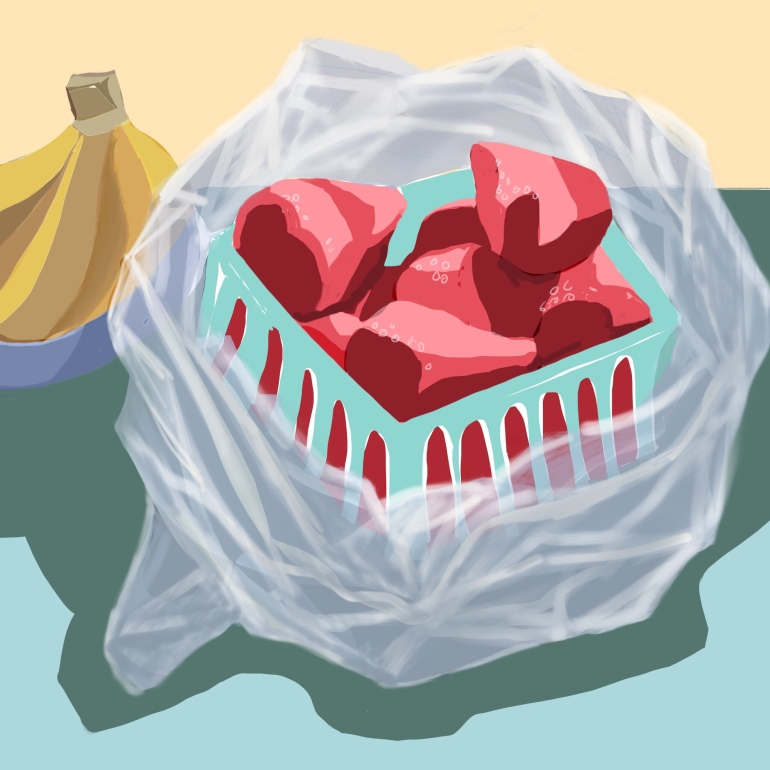 Strawberries in plastic wrap and bananas. Procreate on iPad pro.