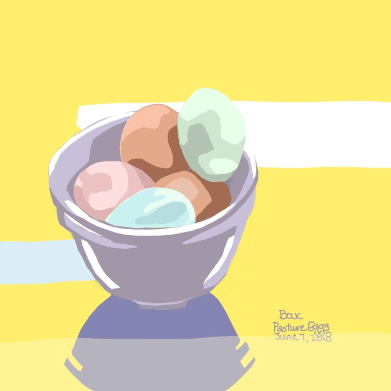 Pasture Eggs of different colors, Procreate on iPad