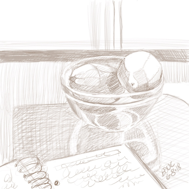 Digital pencil sketch of journal and lemons in a bowl, iPad and procreate