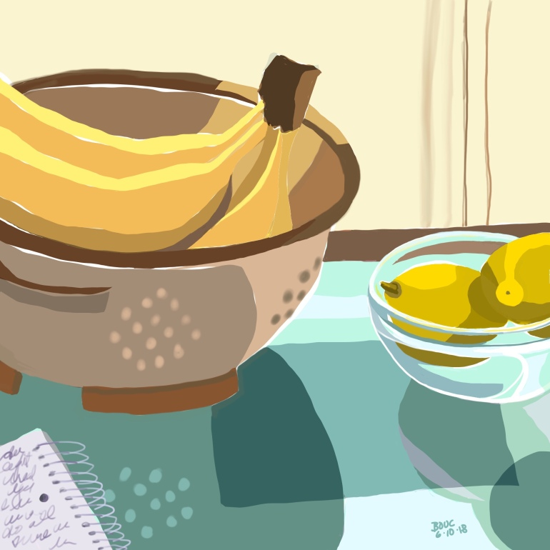 Bananas in a Colander with Lemons and Journal, Procreate and iPad.