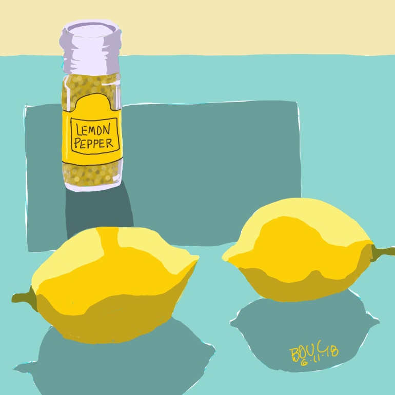Lemons and Lemon Pepper, Procreate on iPad.