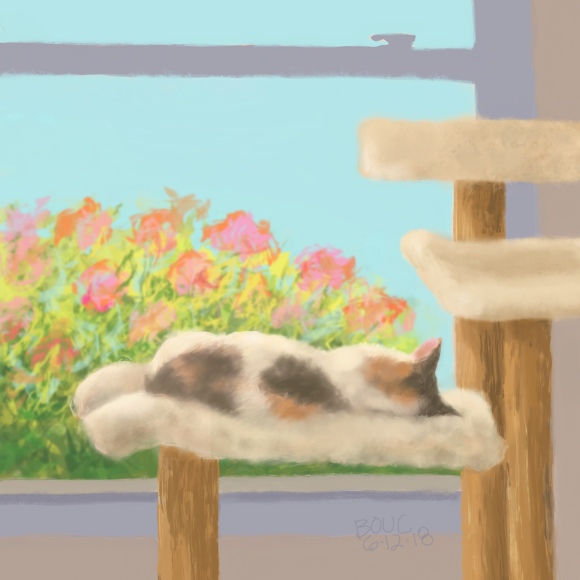 Fiona snoozing on her cat tree at the window. Procreate on iPad.