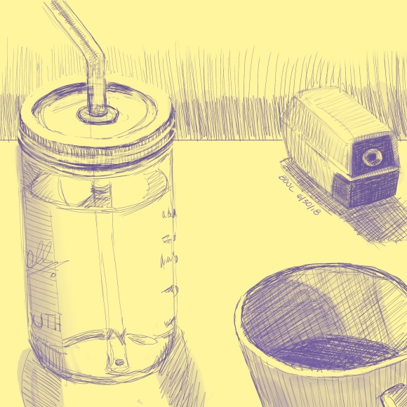 On the drawing table, water bottle, coffee and pencil sharpener. iPad and Procreate.