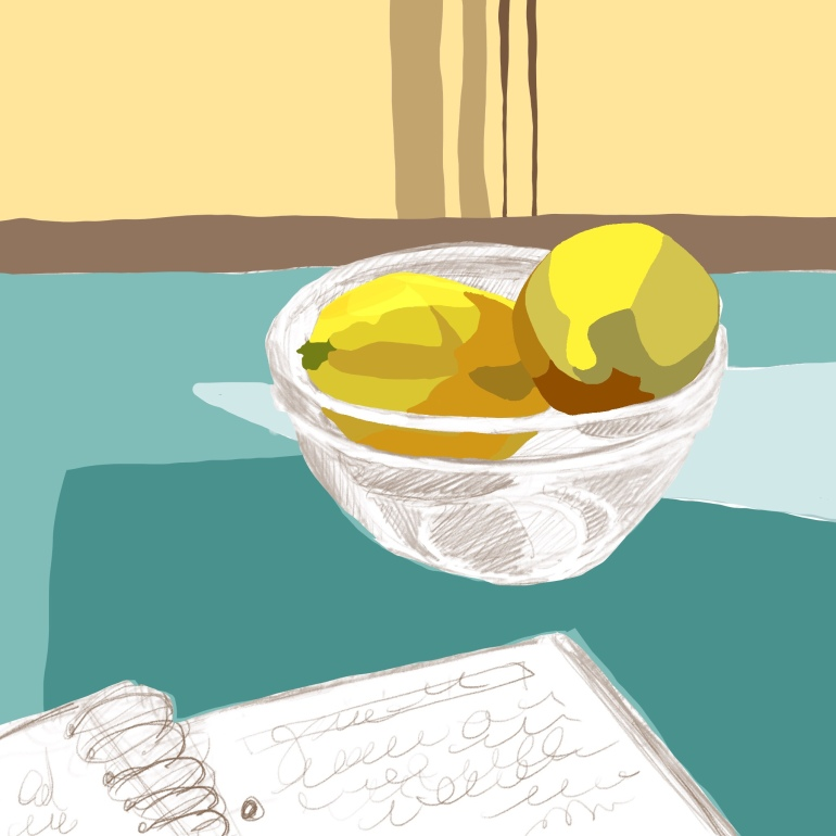 Color layer added to Digital pencil sketch of journal and lemons in a bowl, iPad and procreate