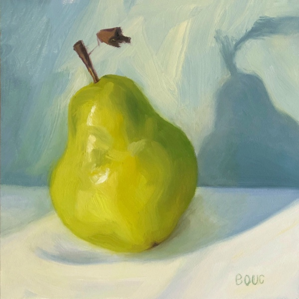 Bonus Pear, oil on Gessobord, 6x6""