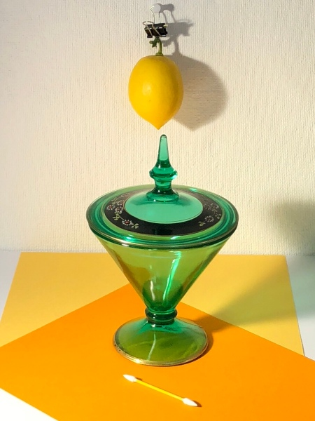 Photo of set up of hanging lemon and candy dish