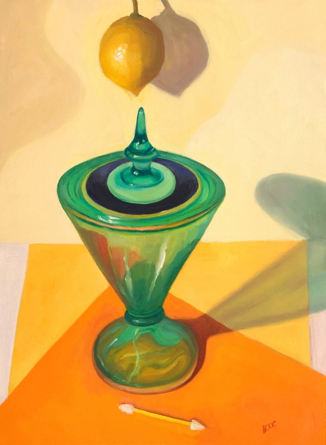 """Lemon, Candy Dish and a Cosmetic Swab, oil painting on unstretched canvas, 16x12"""""""