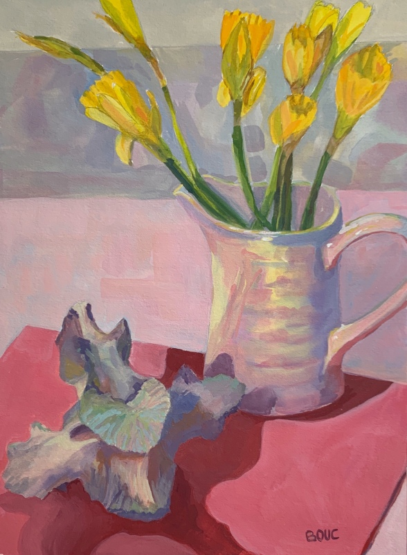 """""""Animal Bone and Daffodils,"""" gouache on watercolor paper, 11 x 8.5 inches"""
