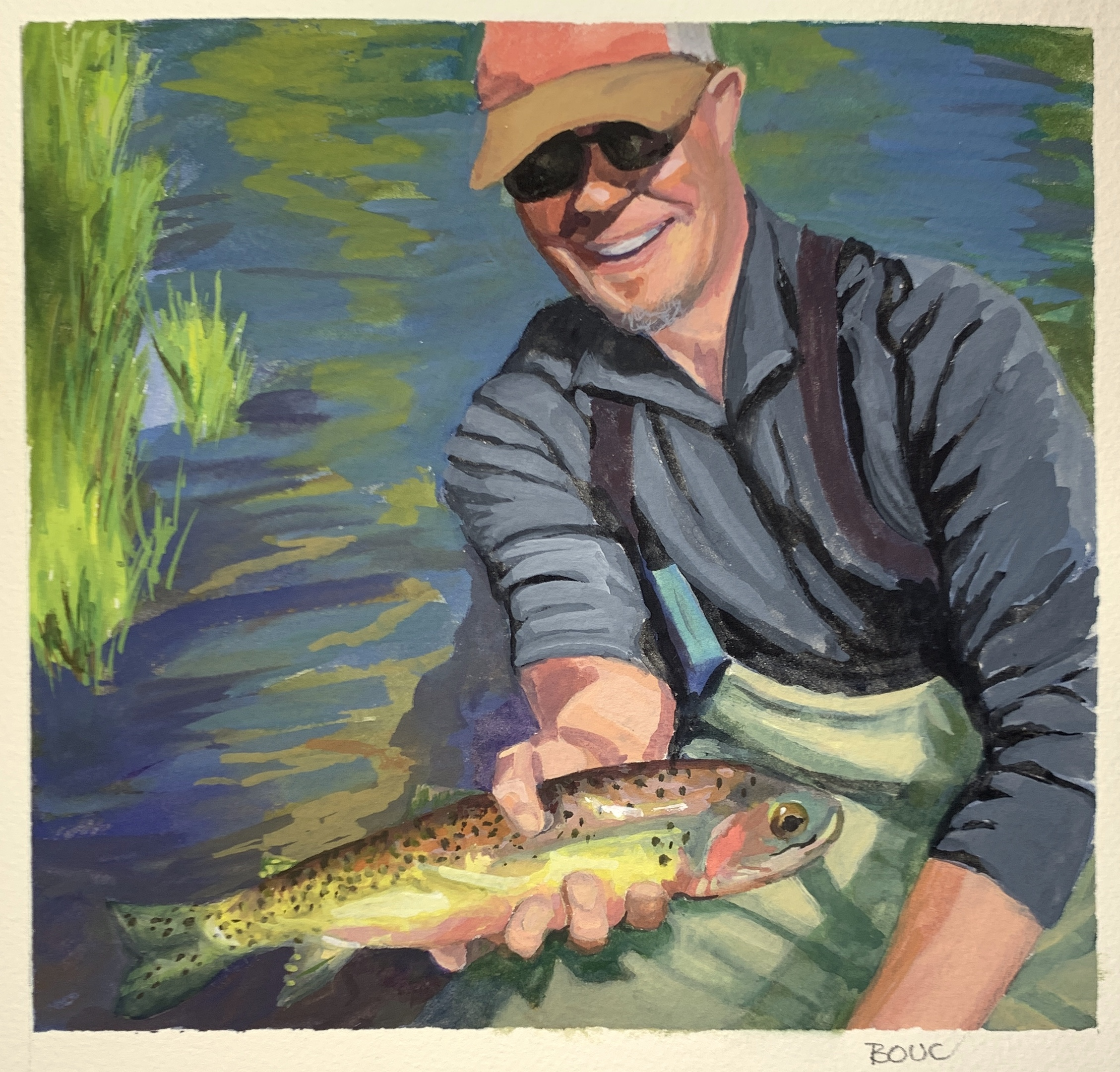 "Guy with Big Fish: People Facebook Thinks I Should Know #6"" Gouache, 8x8 inches"