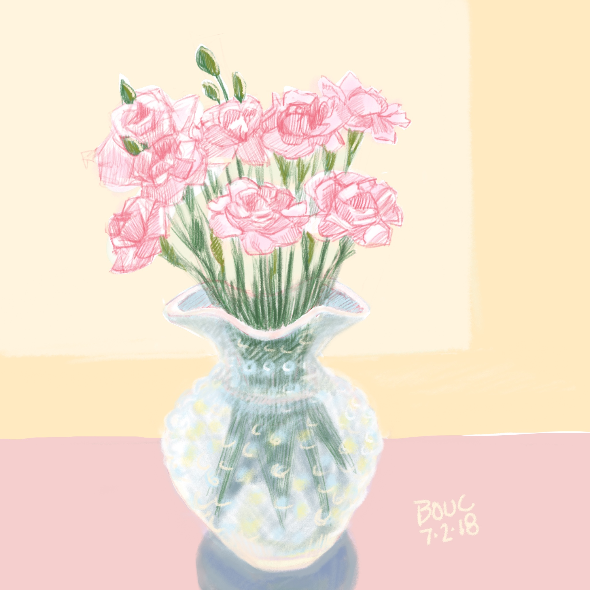 Tired Baby Carnations, Procreate digital sketch