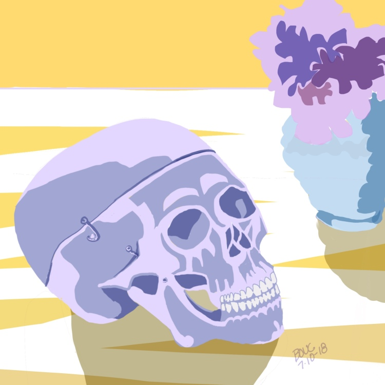 Skull and Hydrangeas, Digital sketch in Procreate on the iPad