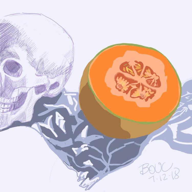 Mortie Skullman with Cantaloupe, Digital sketch in Procreate on iPad.