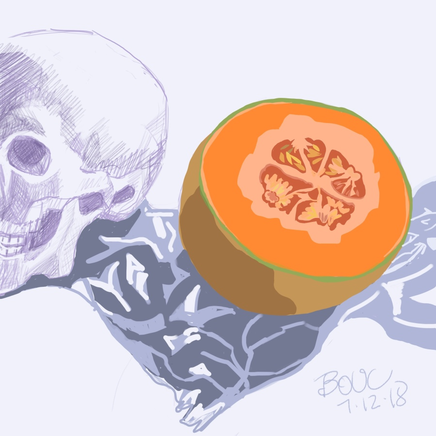 Mortie Skullman with Cantaloupe, Digital sketch in Procreate on iPad.