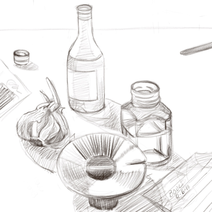 Sketch of random stuff on the table. Procreate on the iPad.