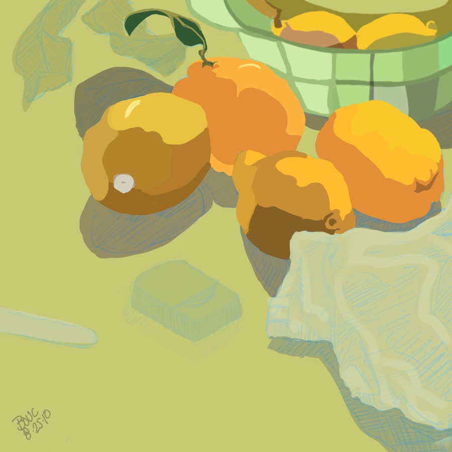 Lumpy Lemons in color, Procreate on ipad