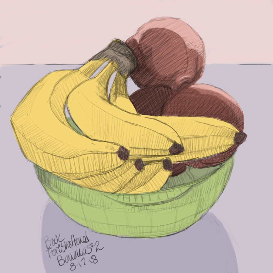 More Foreshortened Bananas with peaches.